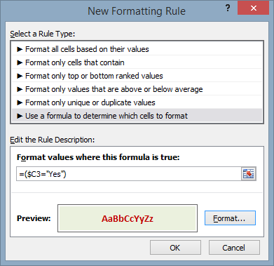 Excel Conditional Formatting Based On Reference Cell | GSEricksen